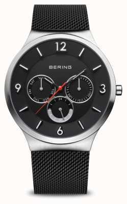Bering Мужская классика | матовое серебро | черный сетчатый браслет 33441-102