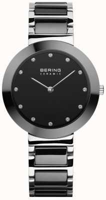 Bering Женская керамика | черный керамический браслет | черный циферблат 11434-742