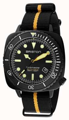 Briston Clubmaster дайвер про | черный / желтый ремешок нато | черный циферблат 20644.PBAM.B.34.NBY