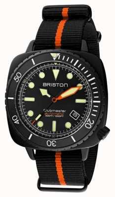 Briston Clubmaster дайвер про | черный / оранжевый ремешок нато | черный циферблат 20644.PBAM.B.35.NBO