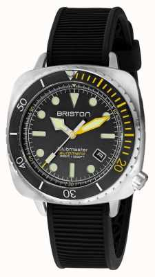 Briston Clubmaster дайвер про сталь | черный резиновый ремешок | черный циферблат 20644.S.DP.34.RB