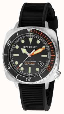 Briston Clubmaster дайвер про сталь | черный резиновый ремешок | черный циферблат 20644.S.DP.35.RB