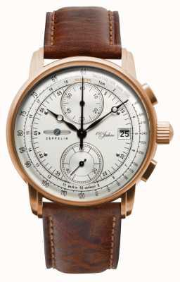 Zeppelin Мужской хронограф | 100 лет | коричневый кожаный ремешок 8672-1