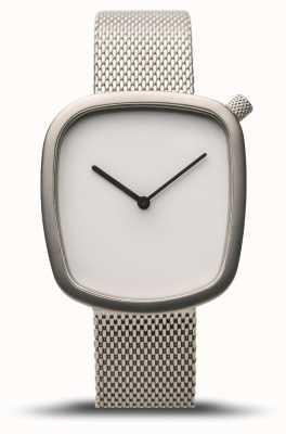 Bering Классический | галька | матовое серебро | серебряная сетка | белый циферблат 18034-004