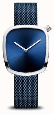 Bering Классический | галька | синий сетчатый ремешок | синий циферблат 18034-307