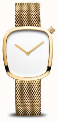Bering Классический | галька | браслет из золотой сетки | белый циферблат 18034-364
