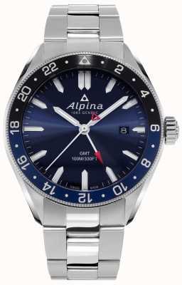 Alpina Альпинер кварц ГМТ | синий циферблат | браслет из нержавеющей стали AL-247NB4E6B
