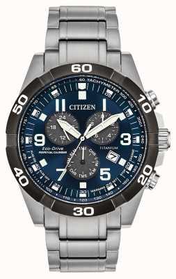 Citizen Часы Brycen Super Titanium с вечным календарем и синим циферблатом BL5558-58L