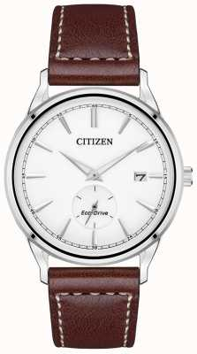 Citizen Эко-драйв коричневый кожаный ремешок | белый циферблат BV1119-14A