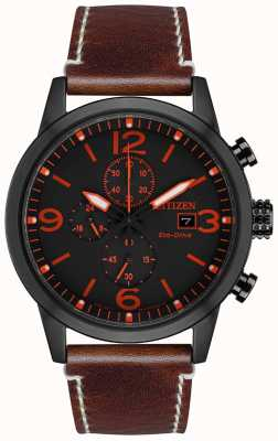 Citizen Эко-драйв спортивный коричневый кожаный ремешок | черный циферблат CA0617-11E