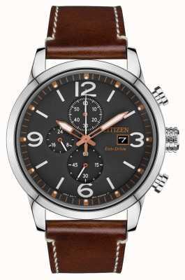 Citizen Эко-драйв спортивные часы с коричневым кожаным ремешком CA0618-26H
