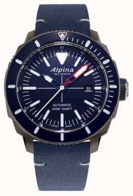 Alpina Seastrong Diver 300 автоматический | темно-синий кожаный ремешок | AL-525LNN4TV6