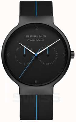 Bering Мужской макс рене | черный силиконовый ремешок | черный / синий циферблат 15542-428