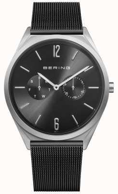 Bering Ультра тонкий | черный стальной ремешок из сетки | черный циферблат 17140-102