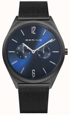 Bering Ультратонкий | браслет из черной стальной сетки | синий циферблат 17140-227
