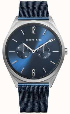 Bering Ультра тонкий | синий стальной сетчатый ремень | синий циферблат 17140-307