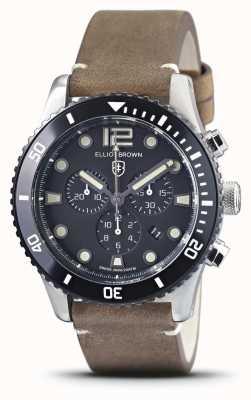 Elliot Brown Bloxworth | винтажный коричневый кожаный ремешок | черный циферблат 929-016-L21