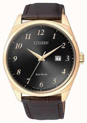 Citizen Мужские часы eco drive gold ip с коричневым кожаным ремешком BM7323-11E