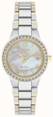 Citizen Женские часы с двухцветным перламутровым циферблатом Eco-Drive с кристаллами EW1994-57N