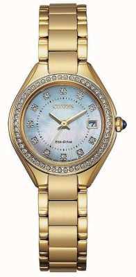 Citizen Женские часы с жемчугом и кристаллами, золото, ip, перламутр EW2552-50D