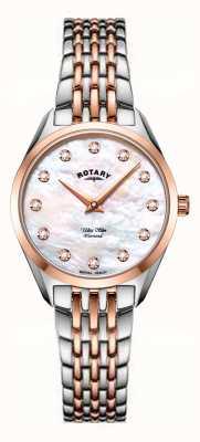Rotary Ультратонкие женские двухцветные часы с браслетом из перламутра LB08012/41/D