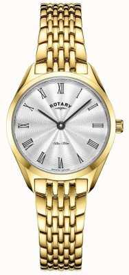 Rotary Ультратонкие женские | позолоченные стальные часы | серебряный циферблат LB08013/01