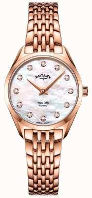 Rotary Ультратонкие женские часы с браслетом из розового золота LB08014/41/D