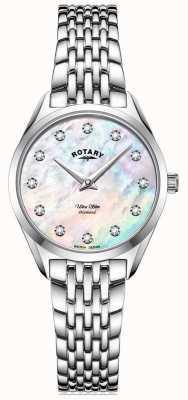 Rotary Ультратонкие женские | браслет из нержавеющей стали | бриллиант перламутровый циферблат LB08010/07/D