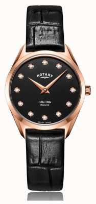 Rotary Ультратонкие женские часы из розового золота с бриллиантами LS08014/04/D