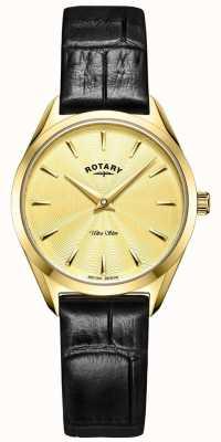 Rotary Ультратонкие женские золотые кожаные часы LS08013/03