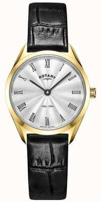 Rotary Ультратонкие женские золотые кожаные часы LS08013/01