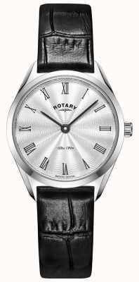 Rotary Ультратонкие женские серебряные кожаные часы LS08010/01