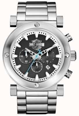 Harley Davidson Мужской хронограф | браслет из нержавеющей стали | черный циферблат 76B166