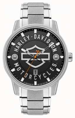 Harley Davidson Мужское для него! | браслет из нержавеющей стали | черный циферблат 76B182