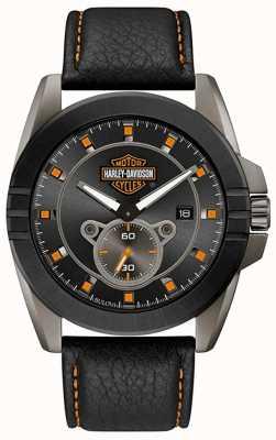 Harley Davidson Мужское для него! | черный кожаный ремешок | серый циферблат 78B182