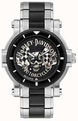 Harley Davidson Мужской череп и флаги | двухцветный стальной браслет | черный циферблат 78A124