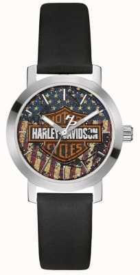 Harley Davidson Женский черный кожаный ремешок | циферблат с американским флагом 76L174