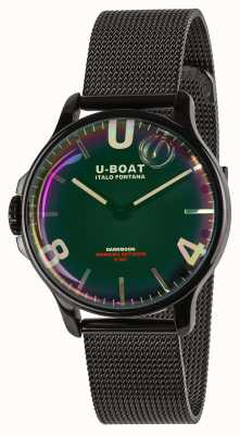 U-Boat Ярмарка Новолуния 38 мм | браслет из черной сетки | радуга циферблат 8470/MT