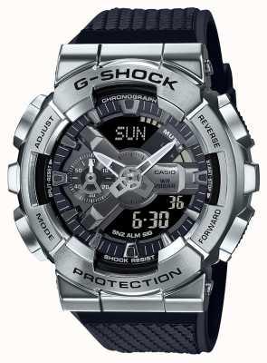 Casio G-шок | ремешок из текстурированной пластмассы | серебряный циферблат | мировое время GM-110-1AER