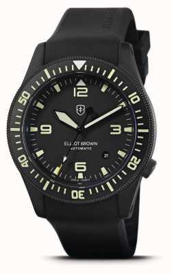 Elliot Brown Холтон автоматический | черный каучуковый ремешок | черный циферблат | 101-A10-R06