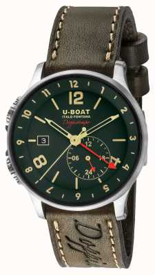 U-Boat 1938 doppiotempo dual time зеленый циферблат 8500