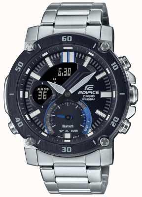 Casio Здание | браслет из нержавеющей стали | черный / синий циферблат | ECB-20DB-1AEF