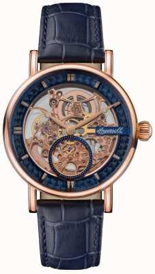 Ingersoll Геральд скелетонизированный циферблат синий кожаный ремешок I00407