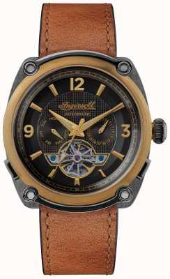 Ingersoll Мичиган | заводчик часов | коричневый ремешок черный циферблат I01104