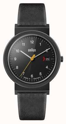 Braun Мужской классический черный кожаный ремешок черный циферблат черная деталь AW10EVOB