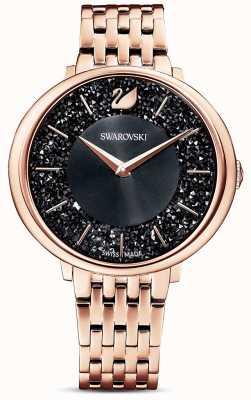 Swarovski | кристальный шик | браслет из розового золота из пвд | черный циферблат с блестками | 5544587