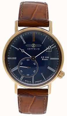 Zeppelin | lz120 римская леди | коричневый кожаный ремешок | синий циферблат | 7137-3
