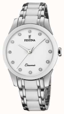 Festina Женская керамика | двухцветный браслет из стали / керамики | белый циферблат F20499/1