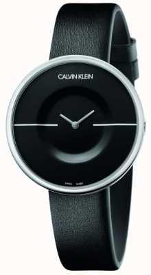 Calvin Klein Мания | женский черный кожаный ремешок | черный циферблат KAG231C1