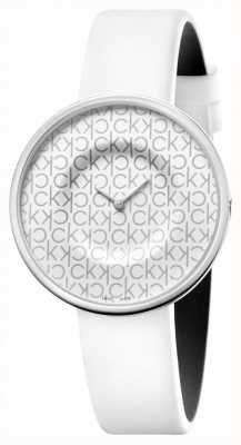 Calvin Klein Мания | женский кожаный ремешок белый | белый циферблат KAG231LX